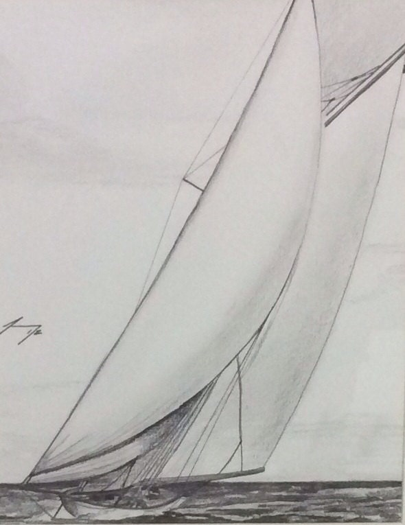 how to draw a vintage sailboat drawing