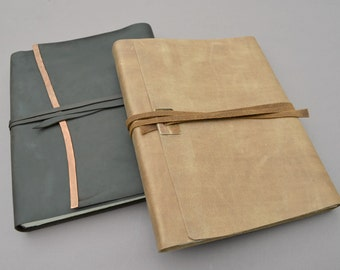 Elegant Chic Handmade to Order Leather Bound Lined Journal Set (274D)