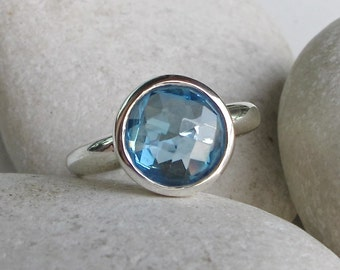 Round Blue Topaz Ring- Topaz Ring- Promise Ring- Anniversary Ring- Quartz Ring- December Birthstone Ring- Blue Gemstone Ring- Blue Ring