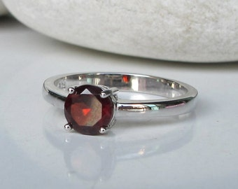 Stackable Garnet Ring- Janauary Birthstone Ring- Red Gemstone Ring- Round Prong Red Ring- Genuine Garnet Ring- Simple Sterling Silver Ring