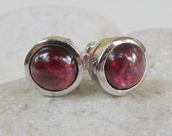 Round Garnet Earring- Classic Red Earring- January Birthstone Jewelry- Smooth Cabochon Earring- Sterling Silver Earring