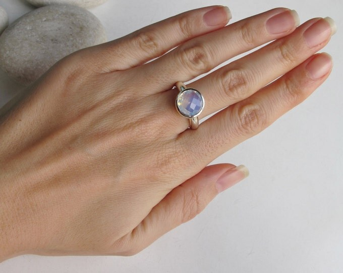 Round Opalite Silver Ring- Faceted Opal Sterling Silver Ring- October Birthstone Ring- Unique Stack Gemstone Ring- Birthday Gift for Her