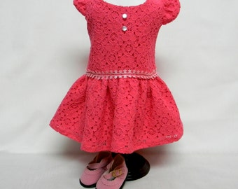 Hot Pink Lace Sun Dress For 18 Inch Doll Like The American Girl