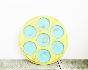 Upcycled Jewelry Organizer - Turquoise Yellow - Bright Fresh Modern Chic