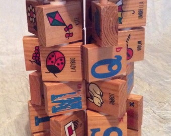 Vintage Flip Stacked Alphabet Wood Block Children's Learning Toy with Alphabet & Picture of Alphabet Letter