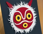 Princess Mononoke Mask Studio Ghibli 8x11 shadow box framed hand cut 3D paper craft unique wall decor anime art