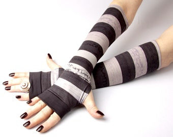 Grey and Purple stripes fingerless gloves -   Tie Dye Arm Warmers , Gloves , Hand Warmers , Cuffs , Victoriian , Goth , Cotton