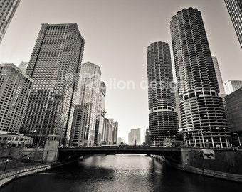 """Chicago Photography, Marina City, Skyline Architecture, Michigan Avenue, Chicago River Downtown Art Black and White 8""""x10"""" Photograph Print"""