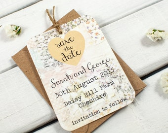 MAGNET Save the date - heart twine lemon floral - country chic