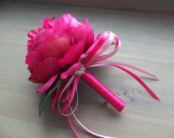 Boutonniere, Fuchsia Peonies with pink ribbons and rhinestone accent, wedding boutonniere