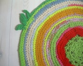 Circular rug made from recycled clothes pastel colours , children's rug