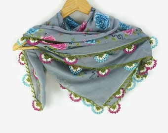 Blue Grey  Floral Head Scarf, Turkish oya scarf,  Crochet flower edge scarf,  Womens scarf, Summer scarf, Cotton scarf