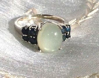 Silver Moonstone & Sapphire Ring or Engagement Ring Handmade Jewellery by NorthCoastCottage Jewelry Design and Vintage Treasures