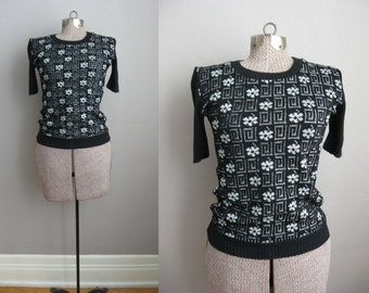 1960s Black Sweater Silver Flowers Short Sleeve Ribbed / Small