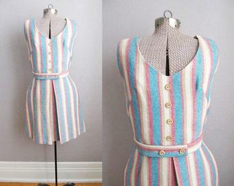 1950s Sun Dress / Vintage 50s Summer Dress Striped Homespun / Small