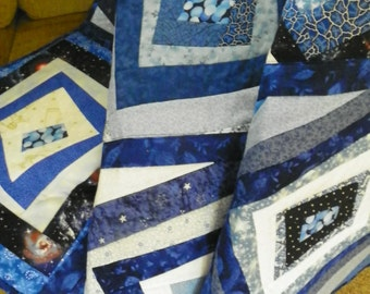 Blue and white crazy lap quilt