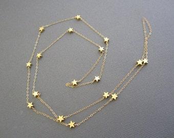 14K Vermeil Gold Star Necklace, Teacher's necklace, Gift for Teacher, inspire gift for teacher, Long Gold necklace, Gold Star necklace