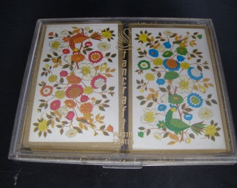 "Vintage ""Stancraft"" Collectible twin card deck set in original clear/gold fleck plastic case"