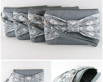 SUPER SALE - Set of 3 Gray Lace Bow Clutches - Bridal Clutch,Bridesmaid Clutch,Bridesmaid Wristlet,Wedding Gift,Zipper Pouch - Made To Order