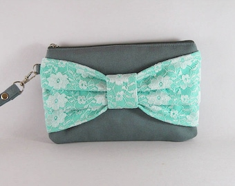 Gray with Mint Lace Bow Clutch - Bridal Clutch, Bridesmaid Clutch, Wedding Clutch - MADE TO ORDER