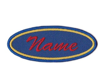 2 Color Border 1.5 X 4 Oval Personalized Custom Embroidered Name Patch with Velcro