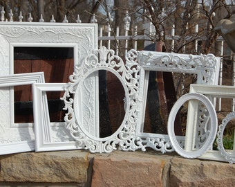 Picture Frames - Shabby Chic Wedding - Set Of 10 White Shabby Chic Frames - Custom Picture Frames