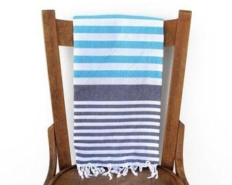 Bath Towel Turkish Towel Turkish Beach Towel Handwoven Cotton Fouta Towel Sarong Pareo Throw Beach Blanket Blue SKY and SEA PESHTEMAL