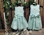 Mint green flower girl dress. Girls mint dress. Rustic flower girl dress. Linen flower girl dress. Country flower girl dress with bow