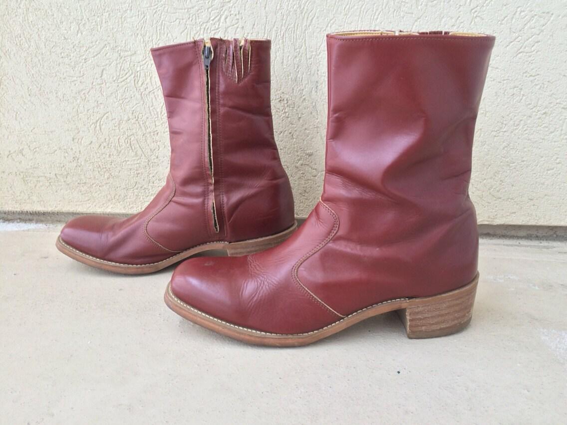 mens frye 14 stacked heel boots american classics oxblood