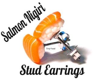 Nigiri Sushi Stud Earrings (Salmon)