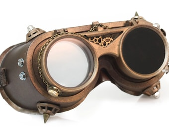 Steampunk Goggles Burning Man Cyber Goth Industrial Victorian Gothic Dieselpunk Gear Halloween costume for men Christmas New Years