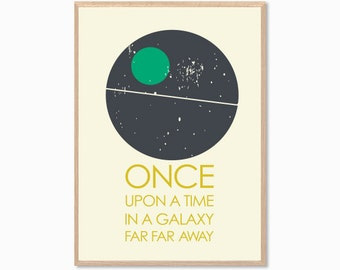 STAR WARS | Once Upon A Time Poster : Modern Illustration Retro Art Wall Decor Print