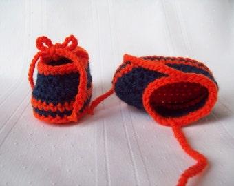 Detroit Tigers Inspired Crochet Baby Booties // Newborn Baby Booties