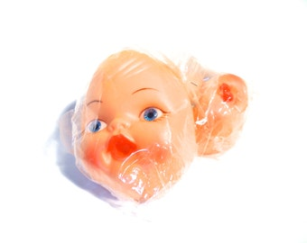 Vintage 2 Soft Plastic Doll Face Mask With Hands