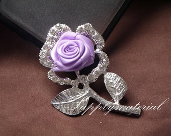 1PCS Fashion Purple Crystal Rose Flowers Flatback Alloy jewelry Accessories materials supplies