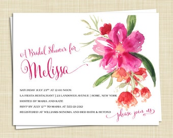 10 Tropical Bridal Shower Invitations - Beach - Hibiscus - Destination - PRINTED