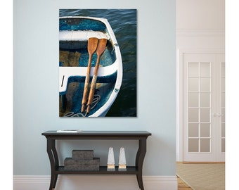 Nautical Canvas Art, Boat Oars Rowboat Photography, Large Beach Artwork, Coastal Art Print, Oversized Photo Teal Blue Aqua Navy Beige White
