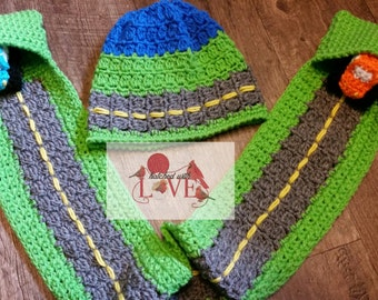 Crochet Road Scarf with Pockets and Crochet Cars and Matching Hat