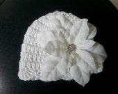 Crochet white baby girl hat for baptism christening.