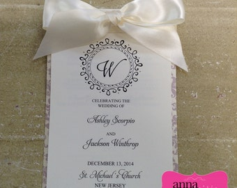 ELEGANT WEDDING PROGRAM - 5 pages to fit all your ceremony info!!! Layered with Ribbon, Damask Jacket