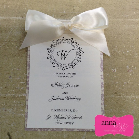 Elegant wedding program 5 pages to fit all your ceremony info