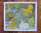 Rabbit and Butterfly Mixed Media Collage- PRINT