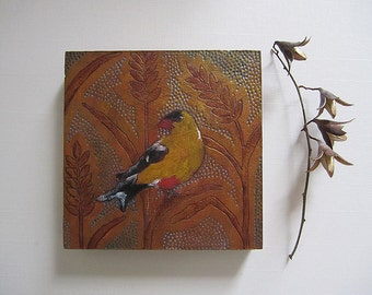 Goldfinch *Joy* Miniature Painting on Wood Panel