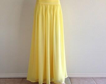 Yellow Maxi Skirt. Yellow  Bridesmaid Skirt. Party Skirt. Long Evening Skirt. Chiffon Floor Length Skirt.
