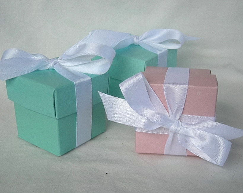 Aqua Wedding Favor Boxes : Turquoise pink favor boxes blush by allthingsangelas