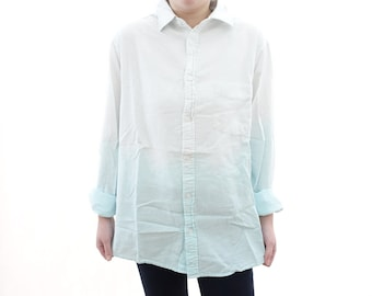 Ombre Blue Shirt - Dip Dyed / Tie Dyed - Button Down Long Sleeve Shirt