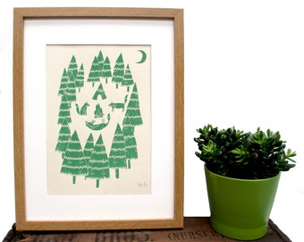 Art Print 'Foxes in the Forest' A4 Screen printed with eco friendly inks