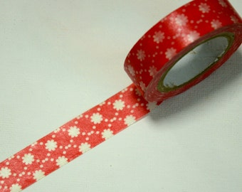 1 Roll of Japanese Washi Tape- Red Background White Floral Motif