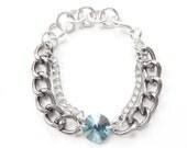 Statement Bracelet Swarovski crystal statement jewelry turquoise silver chain rose gold FANCY