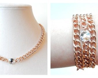 Rose Gold Statement Necklace swarovski crystal necklace statement jewelry bracelet SINGLE LADIES